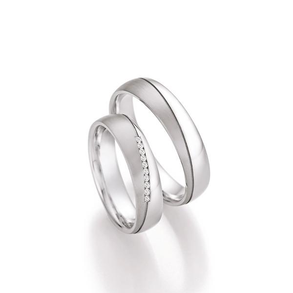 2 x 925er Silber Trauringe Eheringe Silberringe mit Diamant und inkl. Gravur