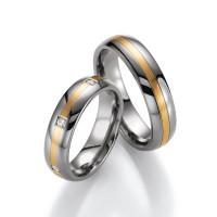 2 x 585er Gold & Titan Trauringe mit Diamant White Style Eheringe inkl. Gravur