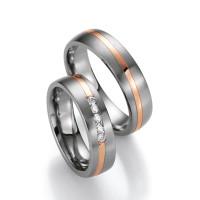 2 x Trauringe mit Diamant - White Style Titan Gold Brilliant 585 78/80110-055