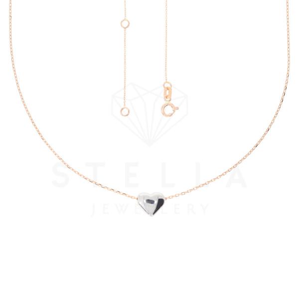 Zarte Damen Kette 42 + 2 cm mit Herz Anhänger 585er Rotgold Halskette inkl. Etui
