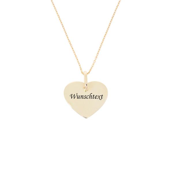 Damen Anhänger Herz 585er Gelbgold mit Halskette 45cm Plate inkl. Gravur