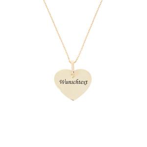 Damen Anhänger Herz 585er Gelbgold mit Halskette...