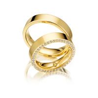 Trauringe mit Diamant 585er Gelbgold PAARPREIS Eheringe inkl. Gravur+Etui