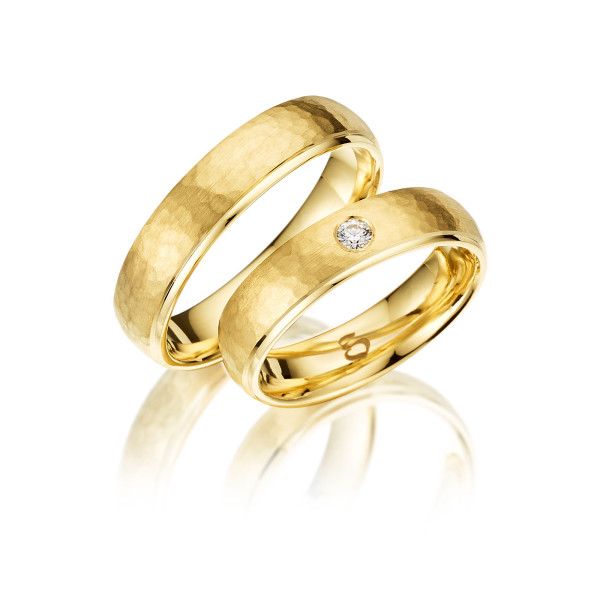 Trauringe mit Diamant 585er Gelbgold PAARPREIS Eheringe inkl. Gravur+Etui Art.02