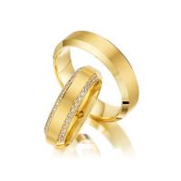 Trauringe mit Diamant 585er Gelbgold PAARPREIS Eheringe inkl. Gravur+Etui Art.06