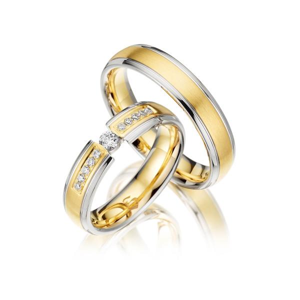 Trauringe mit Diamant 585er Gelbgold PAARPREIS Eheringe inkl. Gravur+Etui Art.08