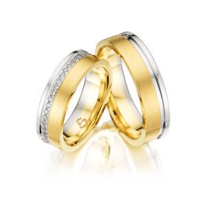 Trauringe mit Diamant 585er Bicolor PAARPREIS Eheringe...