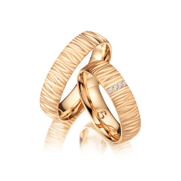 Trauringe mit Diamant 585er Gold PAARPREIS Eheringe inkl. Gravur+Etui Art.11