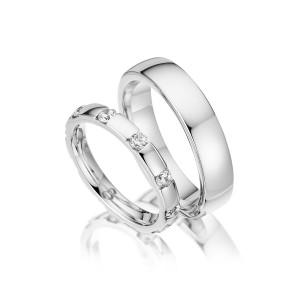 Trauringe mit Diamant 585er Weißgold PAARPREIS...