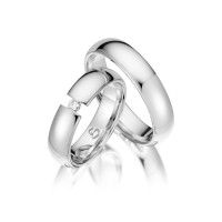 Trauringe mit Diamant 585er Weißgold PAARPREIS Eheringe inkl. Gravur+Etui Art.15