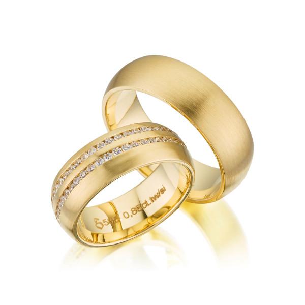 PAARPREIS Trauringe mit Diamant 585er Gelbgold Eheringe inkl. Gravur+Etui Art.02
