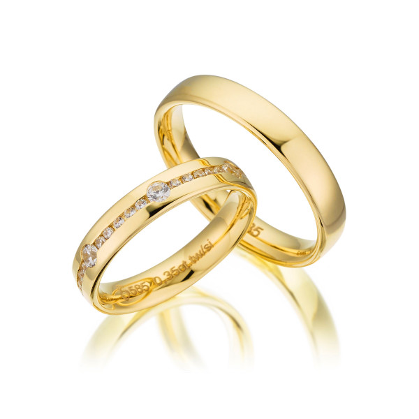PAARPREIS Trauringe mit Diamant 585er Gelbgold Eheringe inkl. Gravur+Etui Art.03