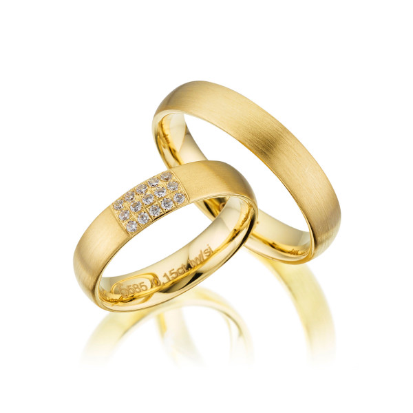 PAARPREIS Trauringe mit Diamant 585er Gelbgold Eheringe inkl. Gravur+Etui Art.01