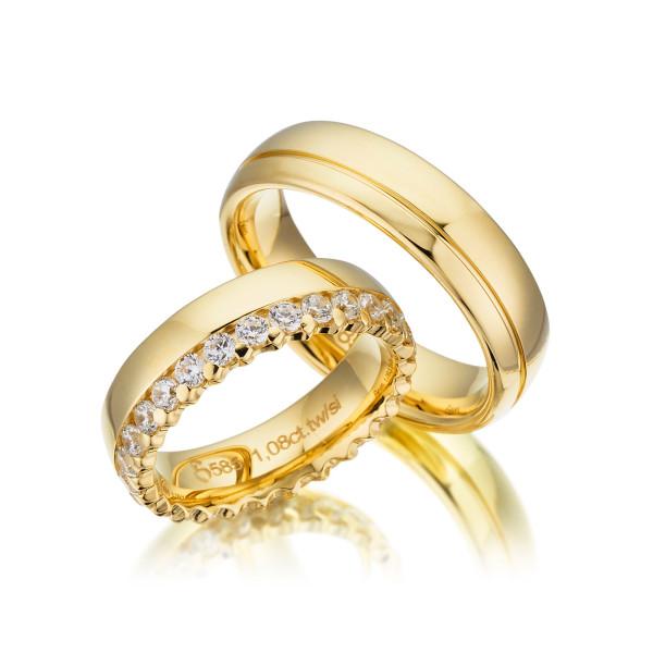 PAARPREIS Trauringe mit Diamant 585er Gelbgold Eheringe inkl. Gravur+Etui Art.05