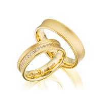 PAARPREIS Trauringe mit Diamant 585er Gelbgold Eheringe inkl. Gravur+Etui Art.06