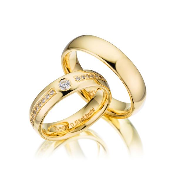 PAARPREIS Trauringe mit Diamant 585er Gelbgold Eheringe inkl. Gravur+Etui Art.07