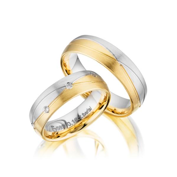 PAARPREIS Trauringe mit Diamant 585er Gold Eheringe inkl. Gravur+Etui Art.08