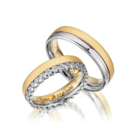 PAARPREIS Trauringe mit Diamant 585er Gelbgold Eheringe inkl. Gravur+Etui Art.09