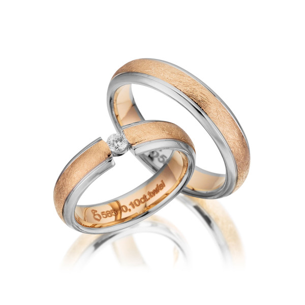 PAARPREIS Trauringe mit Diamant 585er Gelbgold Eheringe inkl. Gravur+Etui Art.10