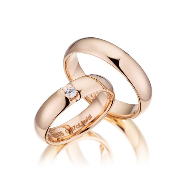 PAARPREIS Trauringe mit Diamant 585er Gold Eheringe inkl. Gravur+Etui Art.11
