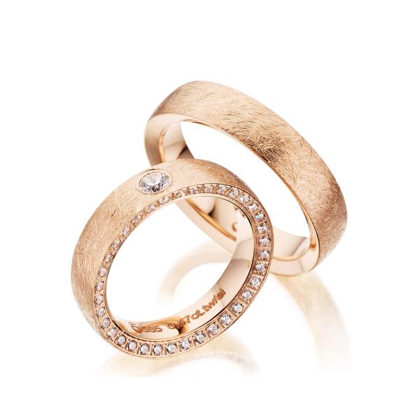 PAARPREIS Trauringe mit Diamant 585er Gold Eheringe inkl. Gravur+Etui Art.13
