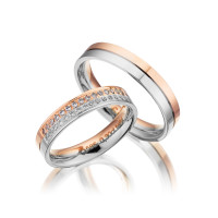 PAARPREIS Trauringe mit Diamant 585er Gold Eheringe inkl. Gravur+Etui Art.15
