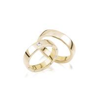 PAARPREIS Trauringe mit Diamant 585er Gold Eheringe inkl. Gravur+Etui Art01