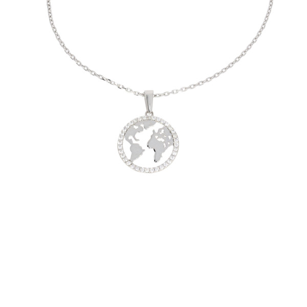 Damen Anhänger Weltkugel 585er Weißgold Ankerkette Erde Weltkarte Globus
