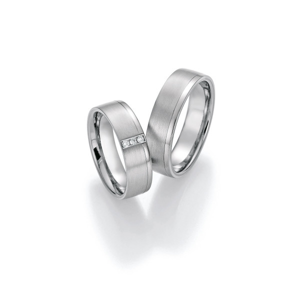 2 x Trauringe mit Diamant - White Style Platin Plus Titan Brilliant 86/10010-062