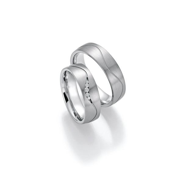 2 x Trauringe mit Diamant - White Style Platin Plus Titan Brilliant 86/10030-060