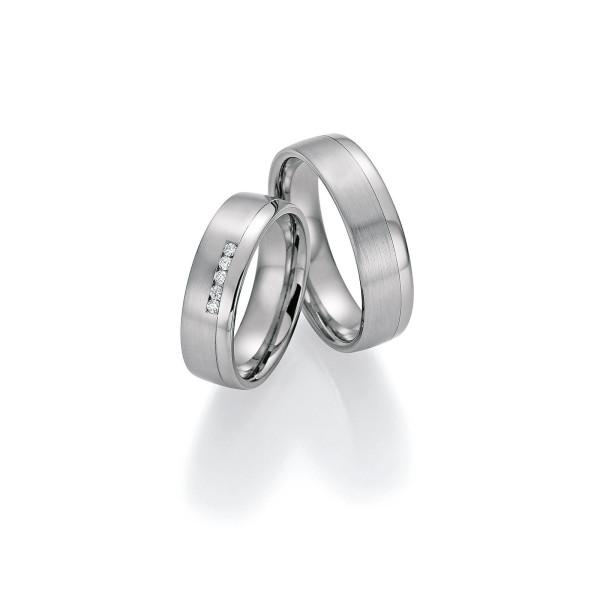 2 x Trauringe mit Diamant - White Style Platin Plus Titan Brilliant 86/10050-060