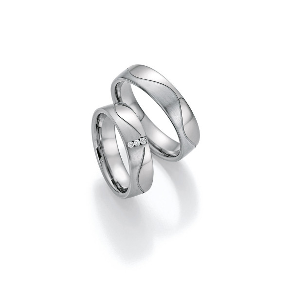 2 x Trauringe mit Diamant - White Style Platin Plus Titan Brilliant 86/10090-055