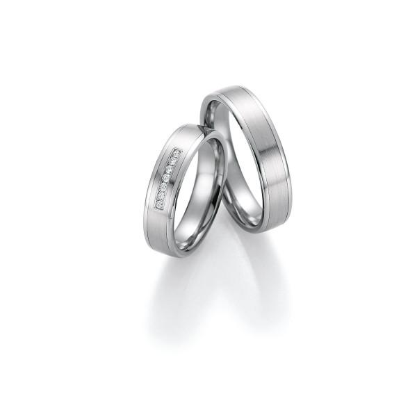 2 x Trauringe mit Diamant - White Style Platin Plus Titan Brilliant 86/10110-050