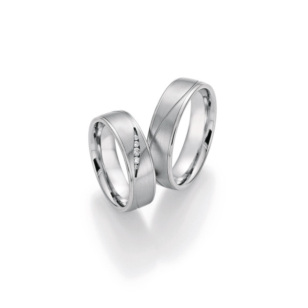 2 x Trauringe mit Diamant - White Style Platin Plus Titan Brilliant 86/10130-060