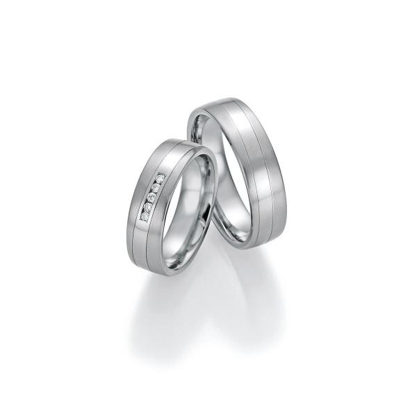 2 x Trauringe mit Diamant - White Style Platin Plus Titan Brilliant 86/10150-060