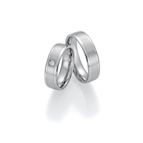 2 x Trauringe mit Diamant - White Style Platin Plus Titan Brilliant 86/10170-060