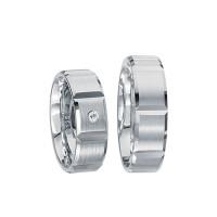2 x Silberringe mit Diamant - EC84 Silver S33