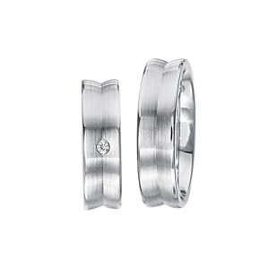 2 x Silberringe mit Diamant - EC84 Silver S35