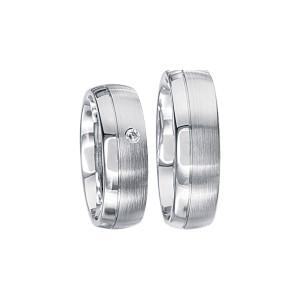 2 x Silberringe mit Diamant - EC84 Silver S36