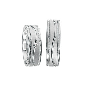 2 x Silberringe mit Diamant - EC84 Silver S37