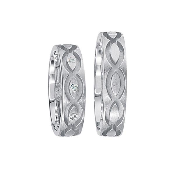 2 x Silberringe mit Diamant - EC84 Silver S40