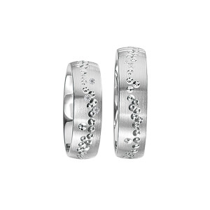 2 x Silberringe mit Diamant - EC84 Silver S41