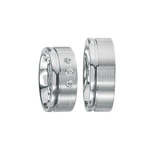 2 x Silberringe mit Diamant - EC84 Silver S42