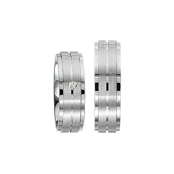 2 x Silberringe mit Diamant - EC84 Silver S43