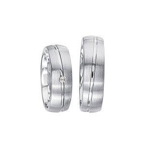 2 x Silberringe mit Diamant - EC84 Silver S44