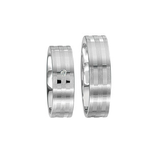 2 x Silberringe mit Diamant - EC84 Silver S45