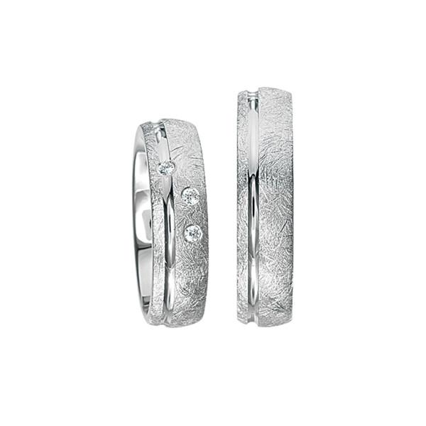 2 x Silberringe mit Diamant - EC84 Silver S46