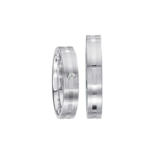 2 x Silberringe mit Diamant - EC84 Silver S47