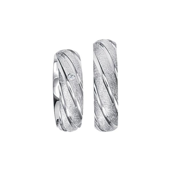 2 x Silberringe mit Diamant - EC84 Silver S48