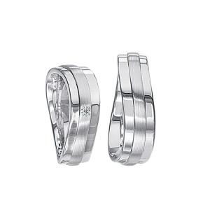 2 x Silberringe mit Diamant - EC84 Silver S49
